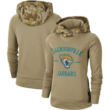 Women's Jacksonville Jaguars Khaki 2019 Salute to Service Therma Pullover Hoodie